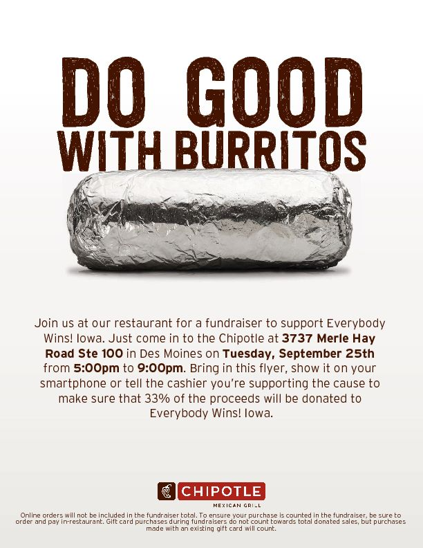 Do Good with Burritos - Chipotle Fundraiser for Everybody Wins! Iowa